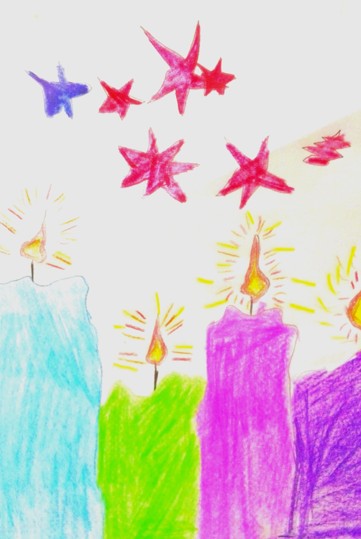 Zeichnung in bunt, vier Kerzen und Sterne